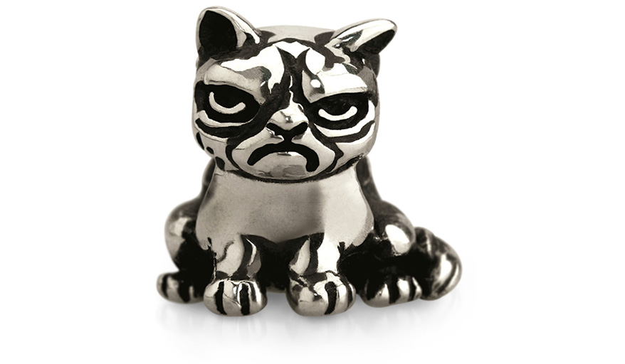 Grumpy Cat sterling silver bead