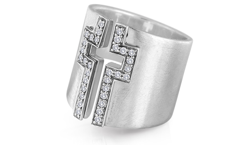 LJ Cross sterling silver ring